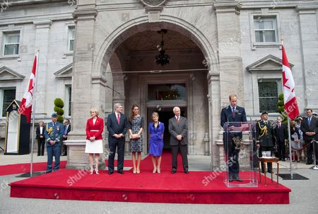 Laureen Harper, Prime Minister Stephen Harper, Catherine Duchess of Cambridge, Governor General David Johnston, Sharon Johnston and Prince William, Prince William