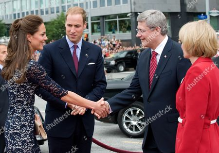 Prince William, Catherine Duchess of Cambridge and Prime Minister Stephen Harper and Laureen Harper