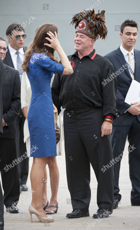 Stock Photo of Catherine Duchess of Cambridge with Konrad Sioui
