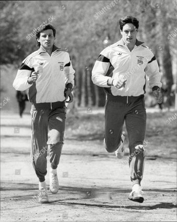 Athlete's Seb Coe (lord Coe) And Alan Wells Wearing Great Britain Team Tracksuits For 1984 Los Angeles Olympic Games.