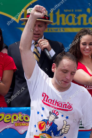 Stock Picture of Joey 'Jaws' Chestnut maintained pigout primacy Monday, winning his fifth straight mustard belt in Coney Island's hot dog eating contest.