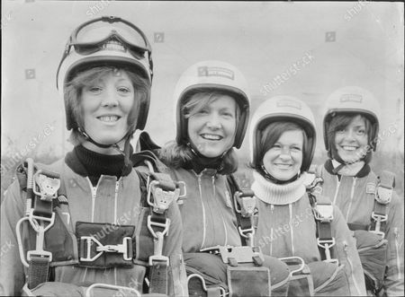 Editorial picture of Sally Smith Leader Of Britain And The World's Only All Girl Parachute Display Team Sky-dive Girl Team Ready For Free Fall Jump. L-r Susi Henderson Sally Smith Teresa Simpson And Diana Tuck