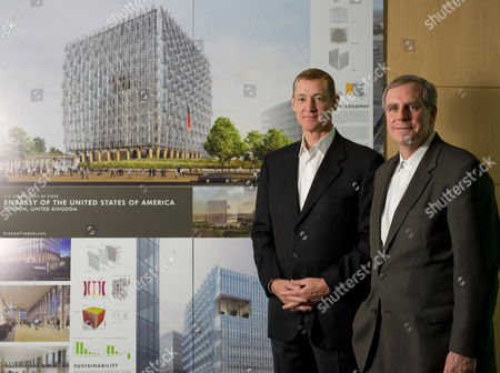 Stock Picture of James Timberlake and Stephen Kieran, the two architects who have deigned the new US embassy due to be built in Nine Elms, south London.