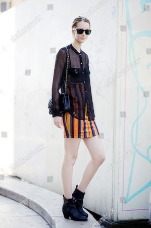 Alana Zimmer, mixing the sheer with the stripes.
