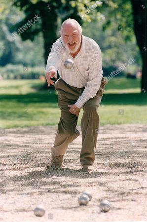 Editorial photo of Actor Frank Middlemass At The Last Evening Standard Boules Championships.