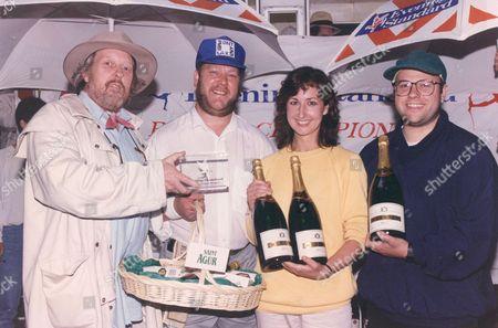 Evening Standard Boules Championship 1993. L-r: Willie Rushton (humorist) Mike Williams Boh And Jackie Mysko Von Schultze.