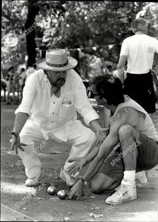 Humorist Willie Rushton With Television Presenter Chris Terrill At Evening Standard Boules Championships 1990.