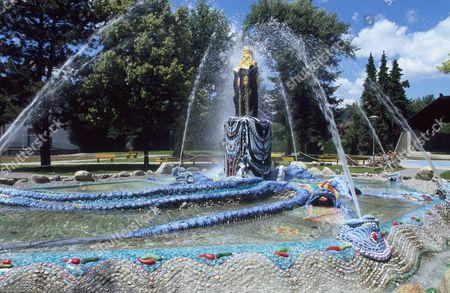 Moses Fountain by Ernst Fuchs, Baernbach, Styria, Austria, Europe