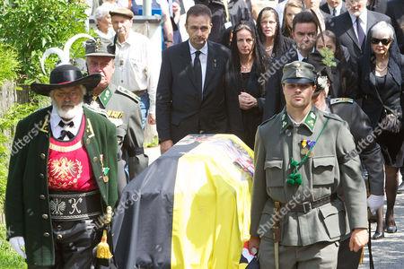 Archduke Karl von Habsburg, Archduchess Gabriela von Habsburg, Archduke Georg von Habsburg, Funeral Procession with coffin