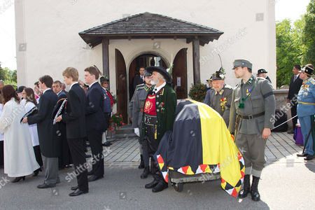 Coffin of Otto von Habsburg being carried out of St. Ulrich Church, Duke Karl Habsburg