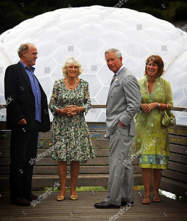 Stock Photo of Tim Smit, Chief Executive and co-founder of the Eden Project, Camilla Duchess of Cornwall, Prince Charles and Gaynor Coley, Managing Director
