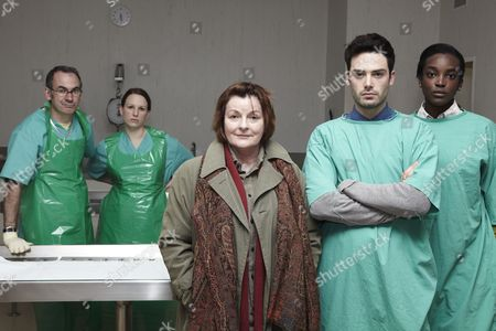 (Back) Paul Ritter as Pathologist Billy Cartwright and Samantha Neale as Lily Marsh (Front) Brenda Blethyn as DCI Vera Stanhope, David Leon as Sergeant Joe Ashworth and Wunmi Mosaku as DC Holly Lawson.