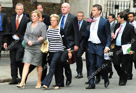 Brian Paddick, Gemma, Sally and Bob Dowler and solicitor Mark Lewis arriving in Downing Street
