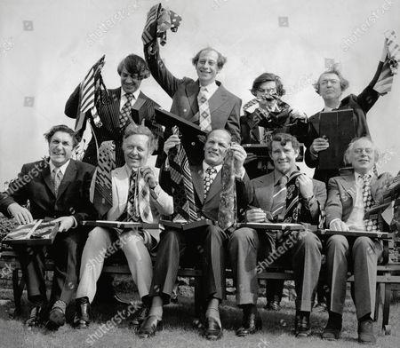 Tv Presenters Leonard Parkin And Peter Woods Mp Norman Lamont Author Kingsley Amis Frank Chapple Michael Barrattt Boxer Henry Cooper Malcolm Allison And Actor Patrick Cargill Pose At Top Ten Tie Men 1874 Event.