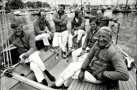Sir Edward Heath On Board His Yacht Morning Cloud (renamed Opposition 4/73). Pictured L-r: Anthony 'sammy' Sampson Duncan Kay Peter Dove Peter Holt Anthony Churchill Owen Parker And Sir Edward Heath.
