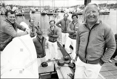 Sailing. Pictured L-r: Anthony 'sammy' Sampson Duncan Fry Peter Dove Peter Holt Anthony Churchill Owen Parker And Sir Edward Heath.