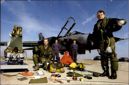 Stock Photo of R.a.f. Tornado Crew With Their Survival Kit. Pilot Flt. Lt. Mike Baverstock (right) And Navigator Flt. Lt. Bill Brand.