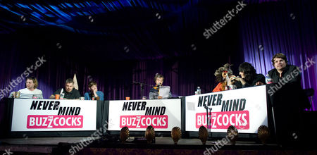 Stock Photo of Seann Walsh, Phill Jupitus, Rob Milton, David O'Doherty, Paloma Faith, Noel Fielding and Charlie Baker perform in a live version of 'Never Mind the Buzzcocks'