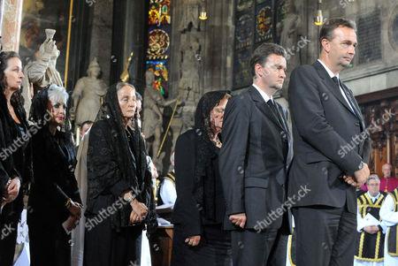 Stock Photo of Archduchess Gabriela von Habsburg, Michaela Maria Countess von Kageneck, Archduchess Monika von Habsburg, Andrea Marie Countess von Neipperg, Archduke Georg von Habsburg, Archduke Karl von Habsburg