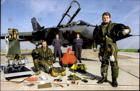 A R.a.f. Tornado Crew And Their Survival Kit. Pilot Flt. Lt. Mike Baverstock (right Standing) And Navigator Flt. Lt. Bill Brand. Behind Them Are S.a.c. David Wright (left) And S.a.c. Sharon Hughes.