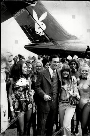 Hugh Hefner And Girlfriend Barbi Benton Surrounded By Bunny Girls - 1970 Hugh Marston Hefner (born April 9 1926) Is An American Magazine Publisher Founder And Chief Creative Officer Of Playboy Enterprises