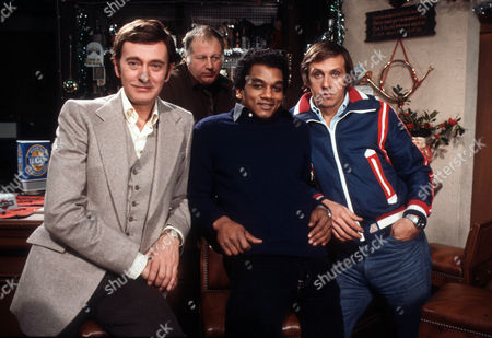 Barrie Ingham as Frank Forrest, Godfrey James as George, Jeffery Kissoon as Peter Gold and David Roper as Martyn Ainsworth