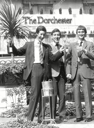 Celebrating At The Dorchester (l-r) Simon Ayrton Simon Page Simon Munnery Schoolboys Invited To Join Mensa - 1983