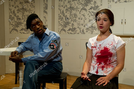 'Mirror Teeth' at the Finborough Theatre, as part of the Vibrant Festival - Jotham Anna as Hassan Corduroy and Louise Collins as Jenny Jones.