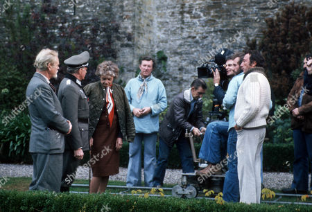 Peter Dyneley as Bob Hathaway, Tony Britton as Colonel Von Schmettau and Celia Johnson as Dame Sybil Hathaway BTS behind the scenes filming camera crew