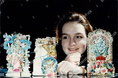 Amber Renwick Admiring Some Of The Victorian Valentine Cards At Christies Part Of The First Ever Valentine Card Auction