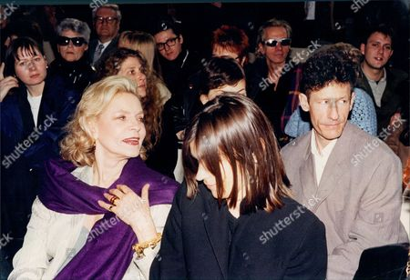 Actress Lauren Bacall With Singer Lyle Lovett At Fashion Show 1994