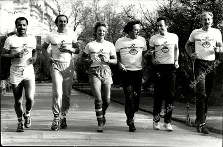 Athletes Jogging On The Embankment For British Olympics Appeal 1984. Boxer John Conteh Alan Pascoe Lucinda Green Broadcaster Terry Wogan Lynn Davies And David Hemery.