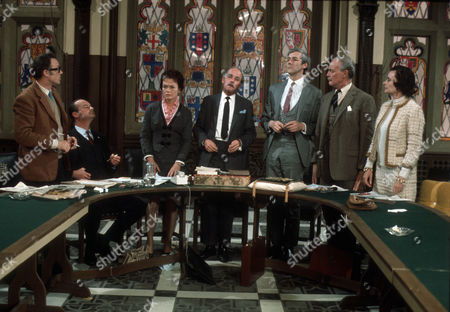 L-R, Emrys Leyshon as Michael Beamish, Glynn Edwards as Arthur Bentwood, Dorothy Alison as Ann Swink, Leonard Trolley as George O'Neill, Roddy Maude-Roxby as Norman Haggard, Anthony Nicholls as Henry Chandler and Elizabeth Ashley as Miranda Muir.