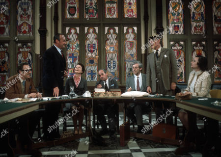 L-R, Emrys Leyshon as Michael Beamish, Glynn Edwards as Arthur Bentwood, Dorothy Alison as Ann Swink, Leonard Trolley as George O'Neill, Roddy Maude-Roxby as Norman Haggard, Anthony Nicholls as Henry Chandler and Elizabeth Ashley as Miranda Muir. © ITV/Anglia 1969