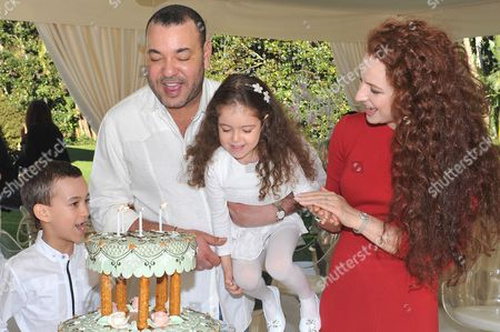 Stock Image of The Moroccan royal family King Mohammed VI, Princess Lalla Salma and Crown Prince Moulay Hassan celebrate the birthday of the Princess Lalla Khadija