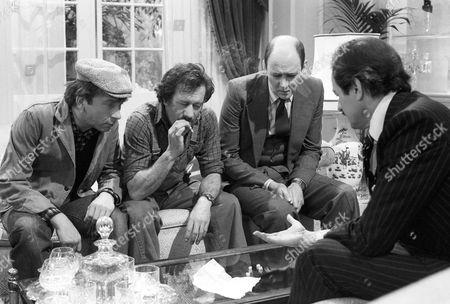 Sam Kelly as Alf, Larry Martyn as Charlie, Garfield Morgan as Scrimshaw and Peter Bowles as Howard Booth