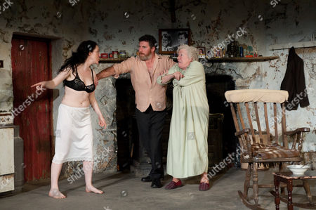 'The Beauty Queen of Leenane' - Derbhle Crotty as Maureen Folan, Frank Laverty as Pato Dooley, and Rosaleen Linehan as Mag Folan.