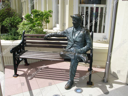 The Norman Wisdom statue on the promenade, Douglas, Isle of Man, England, Britain