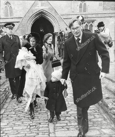 Richard Duke Of Gloucester With His Son The Earl Of Ulster At Christening Of Lady Davina Of Windsor 1978.
