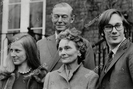 Stock Picture of Engagement Of Richard Of Gloucester With Fiance Birgitte Van Deurs (later Richard Duke Of Gloucester And Duchess Of Gloucester) Her Father Asger Henriksen And Alice Duchess Of Gloucester 1974.