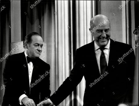 Comedian Bob Hope With Actor Ray Milland On Tv Show This Is Your Life 1970.