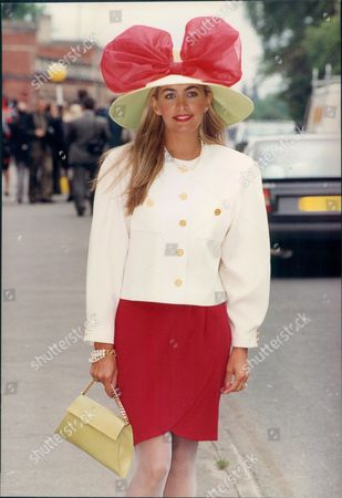 Stock Picture of Clare Austin Little Is Seen Wearing A Red And White Outfit During The First Day Of Ascot