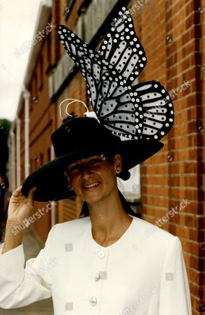 Cindy Lass An Artist Wearing A Black And White Butterfly Hat At Ascot.