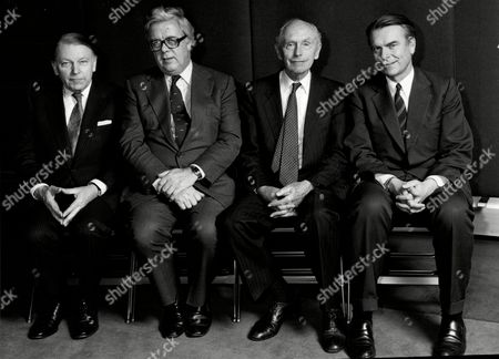 Stock Photo of Foreign Ministers Get Together At The Martini Terrace Sw1. L-r: Francis Pym Sir Geoffrey Howe Lord Home And David Own.