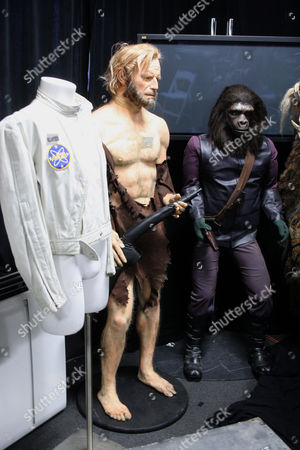 Life size figure of Charlton Heston as Captain George Taylor from 'Planet of the Apes' (1968). Estimate: $2,300.00 - $2,600.00 Life size figure of an ape soldier wearing a screen used costume. Estimate: $1,800.00 - $2,200.00