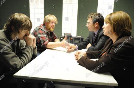 DI Richard Mayne  [Ian Kelsey] and DCI Janine Lewis [Caroline Quentin] interview Martin Heald [Roger Morlidge] and his son Rowan [Sam Darbyshire]