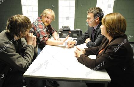 IDI Richard Mayne  [Ian Kelsey] and DCI Janine Lewis [Caroline Quentin] interview Martin Heald [Roger Morlidge] and his son Rowan [Sam Darbyshire]