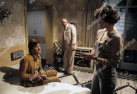 Ray Lonnen as Willie Caine, Kenneth Watson as Hugh Douglas and Sarah Bullen as Jill Ferris