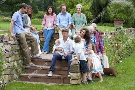 Prince Joachim, Princess Marie, Prince Henrik, Carina Axelsson, Prince Gustav of Sayn-Wittgenstein-Berleburg, Princess Benedikte (back row), Prince Vincent, Prince Christian, Crown Prince Frederik, Princess Josephine, Crown Princess Mary, Princess Isabella, Queen Margrethe II, Prince Henrik, Prince Felix (front row)