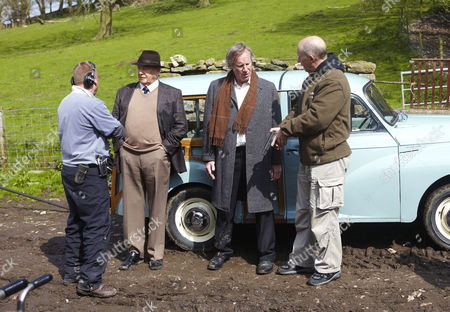 Behind the scenes filming Derek Fowlds and Nicholas Farrell